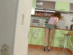 Porn doll kitchen sex video scene 1