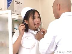 Japanese nurse gets fucked doggy style by a lewd doctor