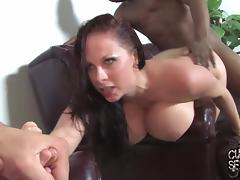 Sexy brunette gets fucked by black studs in the presence of her hubby