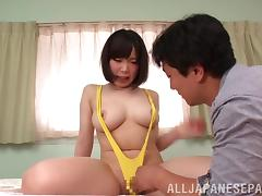 Japanese mom's big natural boobs bounce as she gets fucked hard