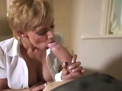 Blonde sucks huge white cock & receives huge cumshot facial