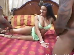 Puerto Rican slut takes on two black dicks