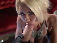 Gorgeous Tia Layne sucks monster cock & gets messy facial