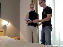 A cute babe in glasses has a sensual sex by a nerdy guy