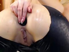 Cute Blonde In Latex Pants Toys Ass On Cam