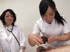 Insatiable hot mature Asian nurses tag team a patient