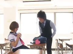 Satou Haruka nice Asian teen in uniform fucks in class
