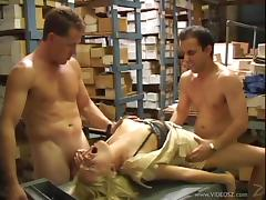 Succulent Violet Devoe Gets DP By Two Wild Dudes In A Storehouse