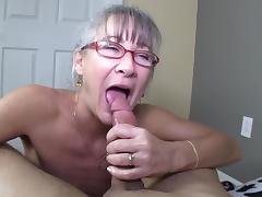 Mom, Bedroom, Blowjob, Cute, Facial, Glasses