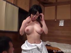Japanese milf shows her big natural tits and enjoys it doggy style