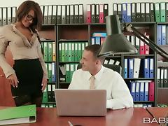 Lovely brunette Alexis Brill gets fucked on the desk in her office