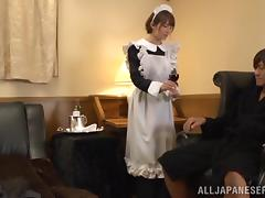Shy Japanese maid Miku Ohashi rides a cock and gets facialed