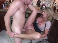 Whore-mom with big boobs & guy