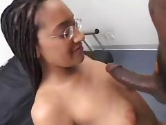 Tall Nerdy Redbone in Braids Sucks on Her Knees