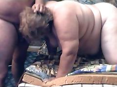 Russian mature BBW loves sucking cock
