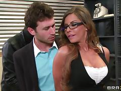 Madison Ivy gets fucked by lewd robber James Deen in a bank