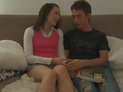 Dilettante juvenile cutie is jizzed on her back after pleasing oral-stimulation