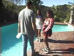 Sexy Ebony Cheerleaders Nailed In An Outdoor Threesome