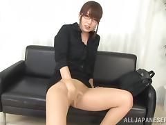 Japanese office girl fingers her pussy and rubs it with a dildo