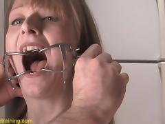 BDSM clip has blonde cutie drinking piss