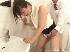 Asian Beauty Gets A Rim Job And Fucks In A Public Toilet