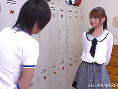 Horny Japanese College Girl Giving Head In The Locker Room CFNM