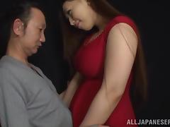 Sayuki Kanno titty fucks a guy before sucking him dry