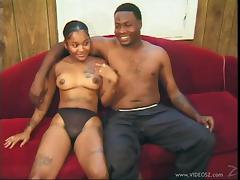 Ebony slut gets nailed after being eaten out by a guy