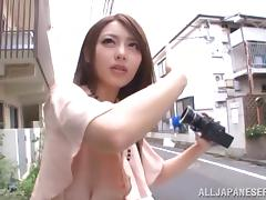 Japanese babe pleases a man with a footjob in amazing reality clip