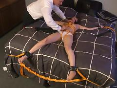 Sexy babes are tied up and tortured in BDSM clip