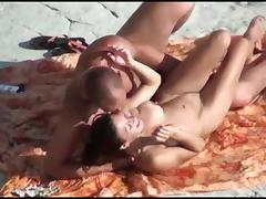 Voyeur on public beach. Sex with angel with silicone Mambos
