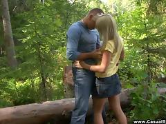 Gorgeous Blonde Teen Enjoying A Hardcore Doggy Style Fuck In A Forest