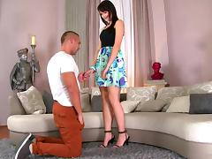 Leggy brunette enchantress gets pounded by sun-tanned jock