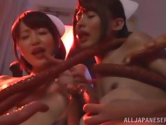 Mouthwatering Yuuki Itano And Her Kinky GF Get Fucked By A Monster