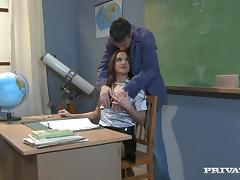 Horny teacher Andy Brown gets seduced by cocky student and fucked
