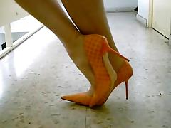Tan Pantyhose Sexy Stiletto High Heels Pumps Walking