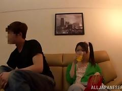 Horny Japanese Couple Go For Some Oral Fun On The Couch