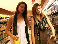 Horny teens stroll through a supermarket showing their bodies