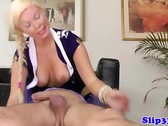Blonde babe doggystyle with old dude
