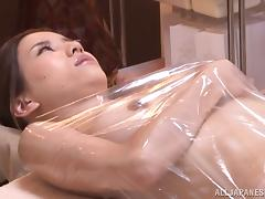 Japanese babe gets an oil massage before being fucked