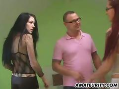 Two amateur bitches suck a cock and get fucked from behind in FFM clip