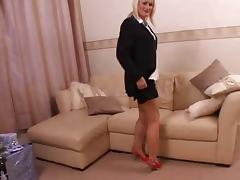 British milf in stockings uses toys