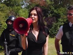 Police, Blowjob, Brunette, Cop, MILF, Office