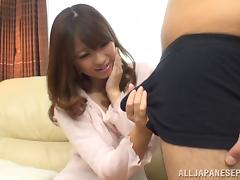 Alluring Japanese AV model makes a handjob and deepthroats