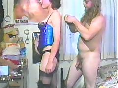 Horny brunette is fucked while wearing lingerie in vintage clip