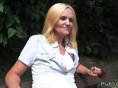 Czech amateur babe fucks outdoor in POV