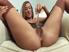 Babe, Babe, Dildo, Masturbation, POV, Stockings