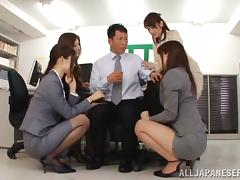 Japanese Girl With Beautiful Tits Enjoying A Hardcore Gangbang In Her Office