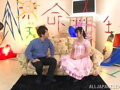 Japanese teen is hot in her sexy dress and pigtails
