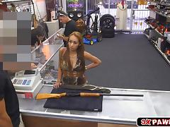 Hot and gorgeous chick gives head and fucked in the pawnshop